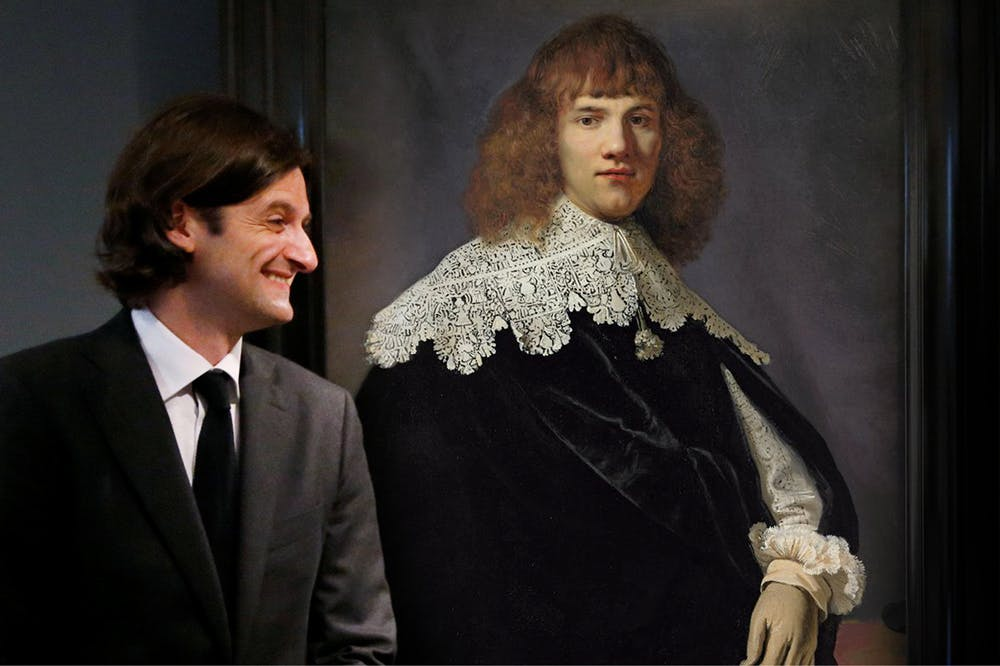 Jan Six XI in front of Rembrandt's 'Portrait of a Young Gentleman' (1635) in 'My Rembrandt'. Courtesy Dogwoof.