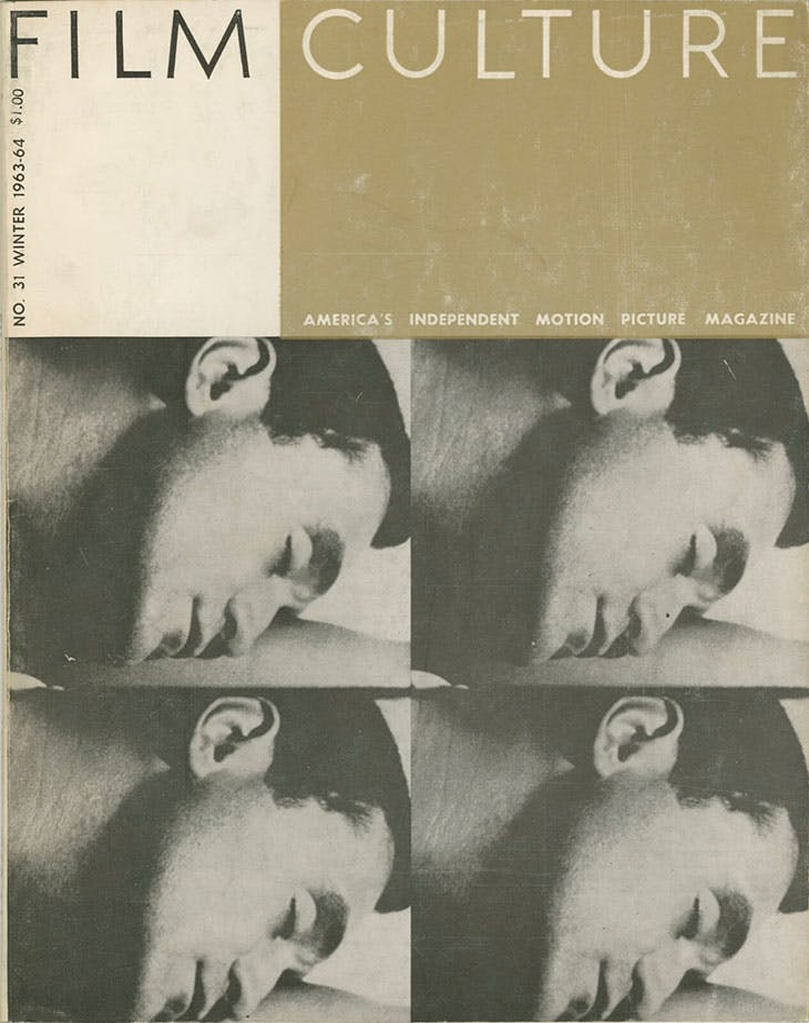 The cover of the January 1964 issue of Film Culture, featuring a still photo from Andy Warhol's Sleep (1964)