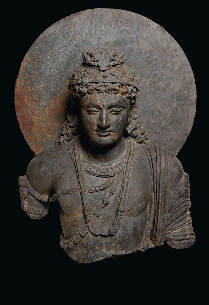 Gray schist bust of a bodhisattva (3rd–4th century), Gandhara. Christie's New York ($400,000–$600,000)