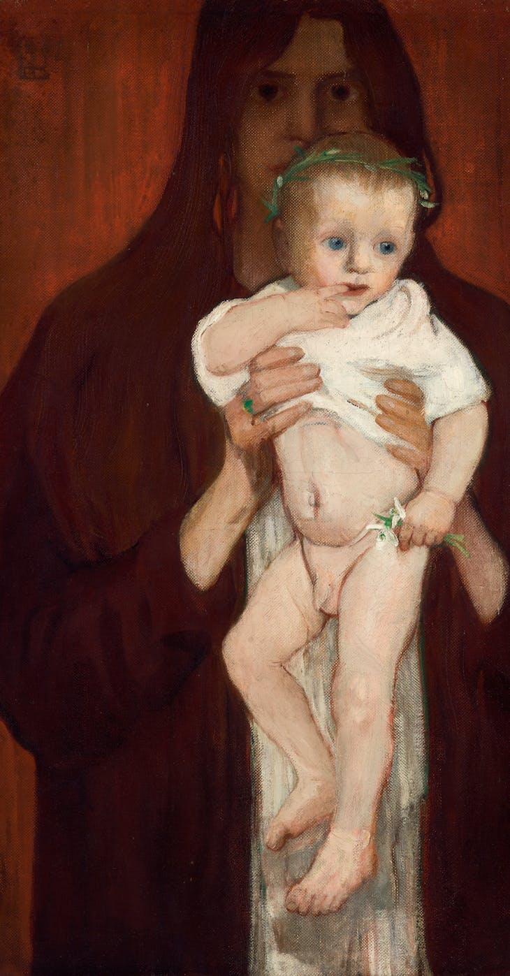 Ver Sacrum (Self-portrait with her son Peter) (1901), Elena Luksch-Makowsky.