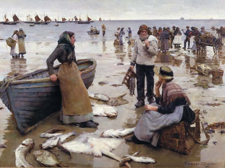 A Fish Sale on a Cornish Beach (1884–85), Stanhope Forbes.