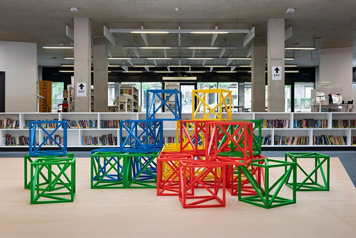 Rasheed Araeen's Zero to Infinity at The Library at Willesden Green, as part of the Brent Biennial 2020.