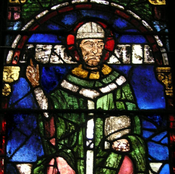 Stained glass window in Canterbury Cathedral, showing Becket holding a book.