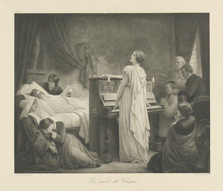 La mort de Chopin (first half of 20th century), Braun, Clément et Cie; photogravure after Félix-Joseph Barrias.