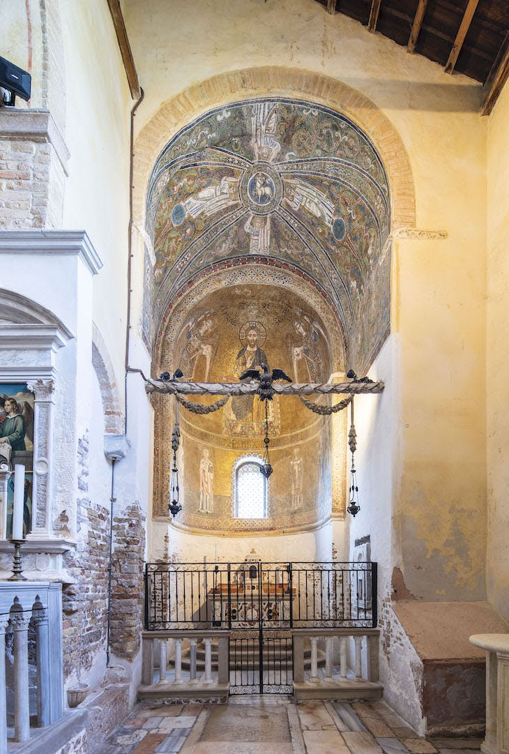 The south side apse of Santa Maria Assunta, Torcello, showing the 11th-century mosaic of Christ in majesty