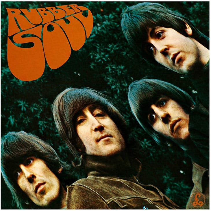 The album cover for the Beatles' Rubber Soul (1965).