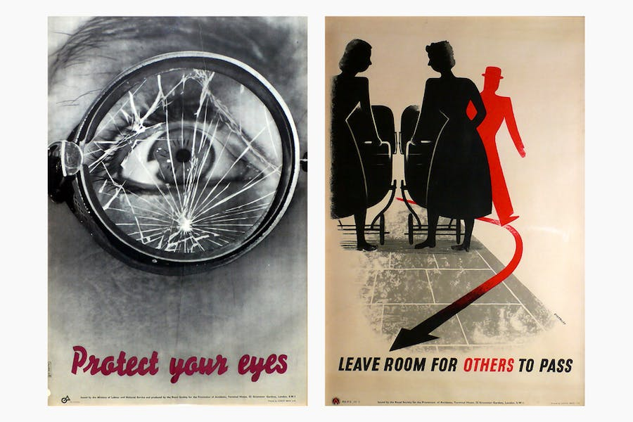 'Protect your Eyes' (c. 1942) designed by Manfred Reiss and G.R. Morris (left).