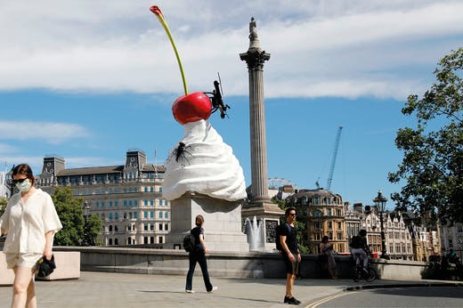 THE END (2020) by Heather Phillipson, installed on the Fourth Plinth in Trafalgar Square, London. Photo: Tolga Akmen/AFP via Getty Images
