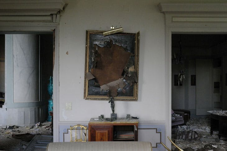 The Sursock Palace after 4 August blast – the destroyed painting is St John the Baptist by circle of Guercino. Photo: Gregory Buchakjian