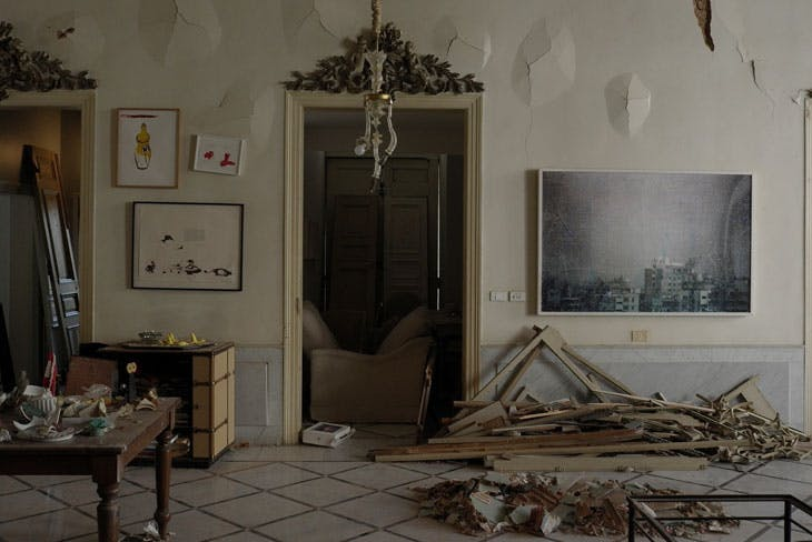 "Private residence after the 4 August blast. On the right: 'We decided to let them say, ""We are convinced' twice', IDF City Cloud 003 (2005). Photo: Gregory Bukchakjian"