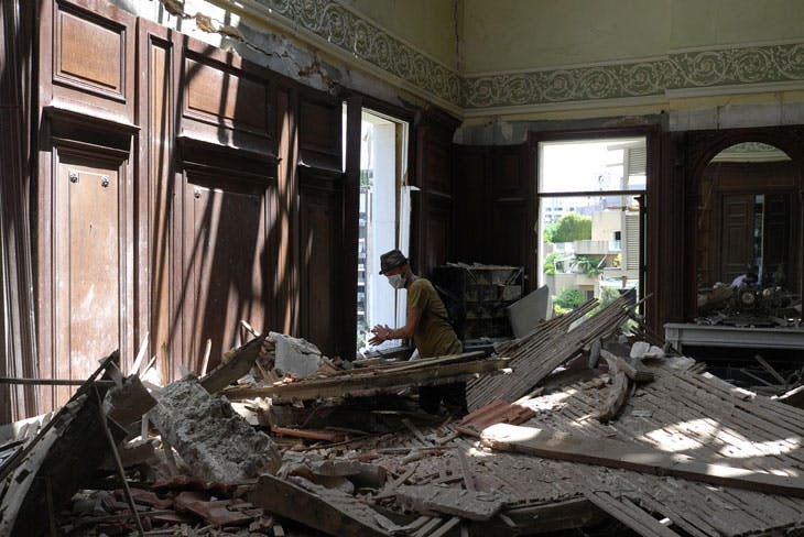 Gregory Buchakjian in the library of the Sursock Palace after the 4 August blast. Photo: Georges Boustany