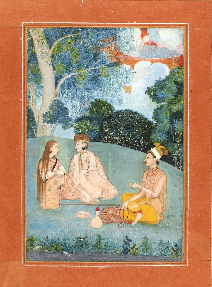 A woman visiting two Nath yoginis (c. 1750), Mughal, North India.