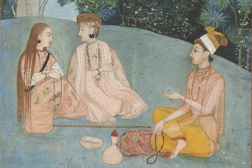 A woman visiting two Nath yoginis (detail; c. 1750), Mughal, North India.