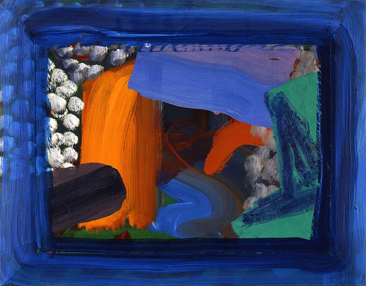 After Visiting David Hockney (second version) (1991–92), Howard Hodgkin.