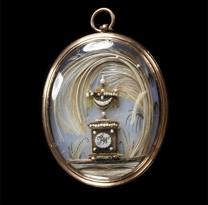 Gold locket containing hair (1775–1800), England.