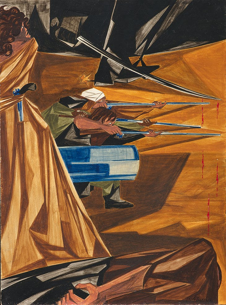 Panel 12 History of the American People' (1954–56), Jacob Lawrence. Collection of Harvey and Harvey-Anne Ross. Photo: Bob Packert/PEM; © The Jacob and Gwendolyn Knight Lawrence Foundation, Seattle/Artists Rights Society (ARS), New York
