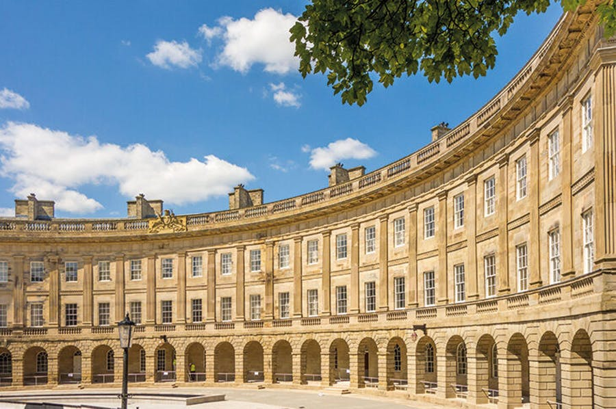The refurbished exterior of Buxton Crescent, Derbyshire, designed by John Carr of York and built in the 1780s.