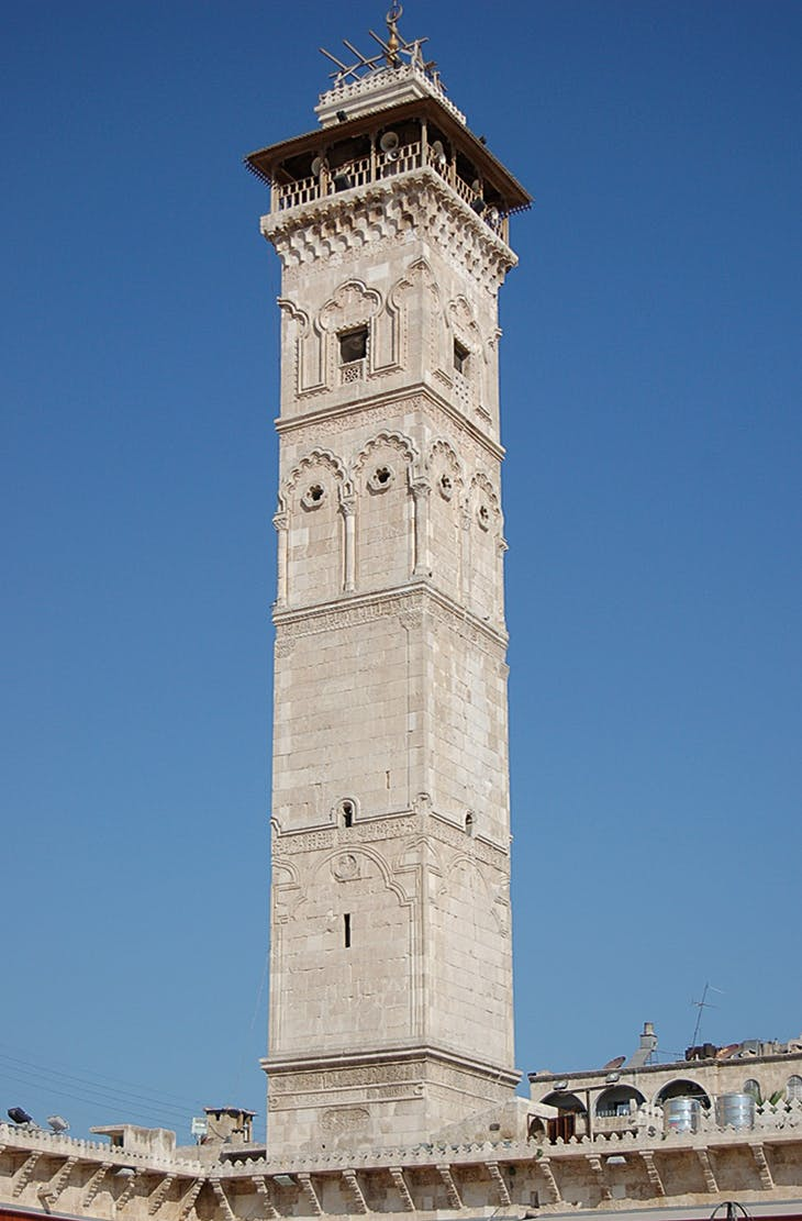 The minaret of the Great Mosque of Aleppo, constructed in the 11th century and destroyed in 2013 (photo: 2005)