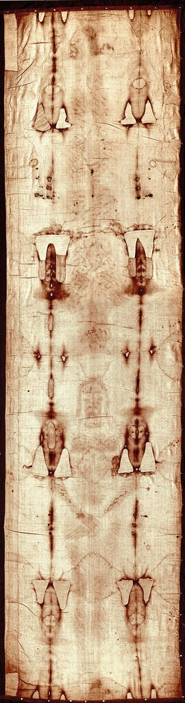 The Turin Shroud (mid 14th century). Cathedral of Saint John the Baptist, Turin