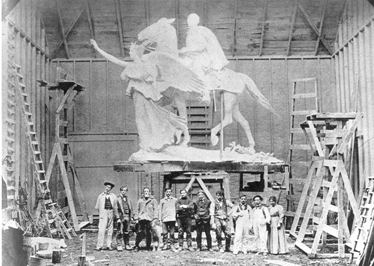 Augustus Saint-Gaudens and assistants in his Large Studio, Cornish, NH, in 1905, with a plaster version of the General William Tecumseh Sherman Monument.