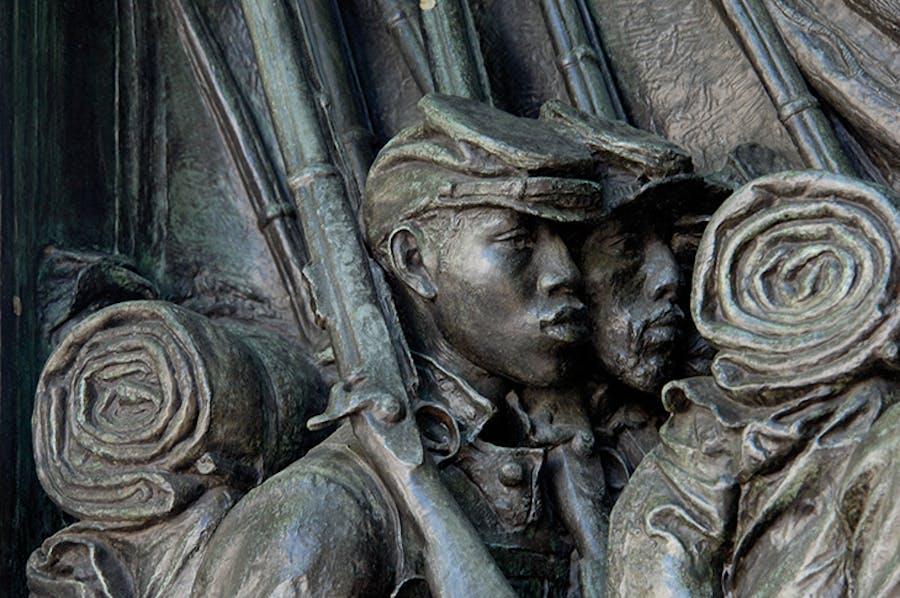 Detail of the Robert Gould Shaw Memorial (1897), Augustus Saint-Gaudens, showing Black soldiers of the 54th Massachusetts Regiment.