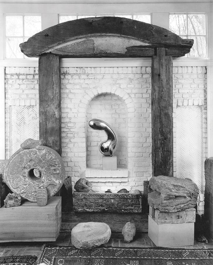 Photograph taken by Floyd Faxon in September or October 1948 of the foyer of Louise and Walter Arensberg's house at 7065 Hillside Avenue