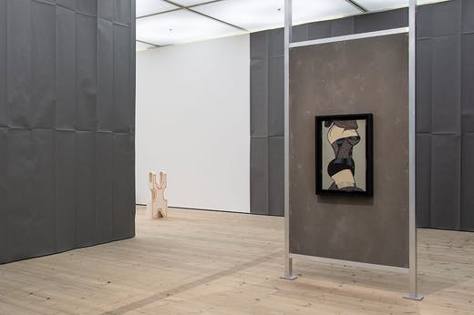 Installation view of 'The Making of Husbands: Christina Ramberg in Dialogue' at BALTIC Centre for Contemporary Art, Gateshead, 2020. On the right is Ramberg's Black Widow (1971).