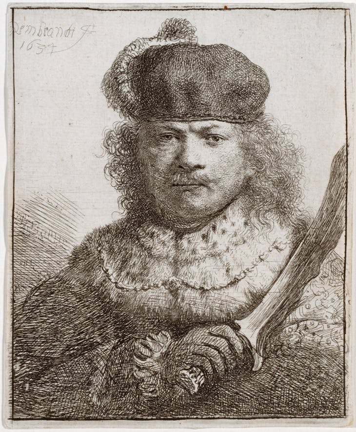 Self-portrait with raised sabre (1634), Rembrandt.