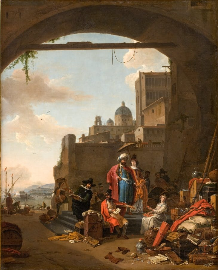 Merchants with goods in a Mediterranean port (1660s), Thomas Wijck.