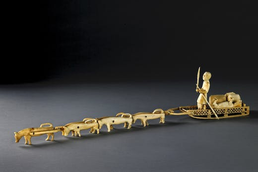Ivory model sled with dogs (mid 19th century), Siberia, Russia.