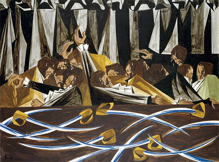 Panel 15 (1955) from 'Struggle: From the History of the American People' (1954–56), Jacob Lawrence. Harvard Art Museums, Cambridge, MA. © The Jacob and Gwendolyn Knight Foundation, Seattle/Artists Rights Society (ARS), New York
