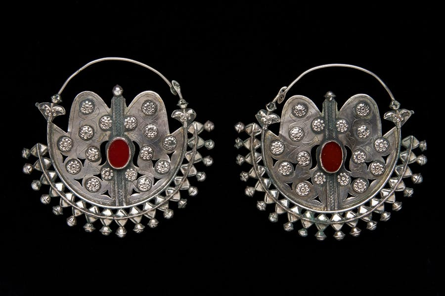 Earrings (Gulk Chalka) (late 19th to early 20th century), Turkmenistan (Yomud).