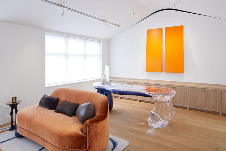 Installation view of Carmen Herrera's Untitled Estructura (Orange) (2007/2016) at The Perimeter, London, 2020.