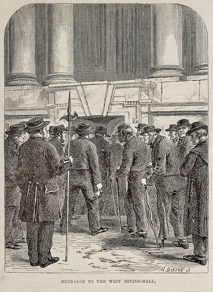 An image originally published on 25 March 1865 in the Illustrated London News, depicting pensioners entering the West Dining Hall in the Undercroft of the King William Building at Greenwich Hospital.