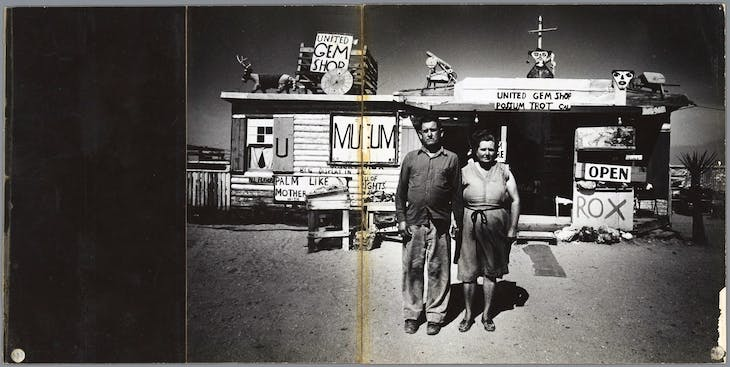 Unspoiled primitives'; naive painter Call Black and his wife Ruby in front of their private museum in the Mojave Desert, Arizona, from Sweet Life (1966), Ed van der Elsken.