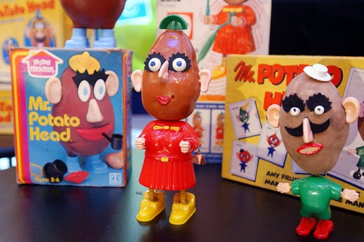Classic Mr. Potato Heads displayed at a 50th birthday party for the popular childrens toy at Hasbros showroom in New York City on 5 February, 2002.