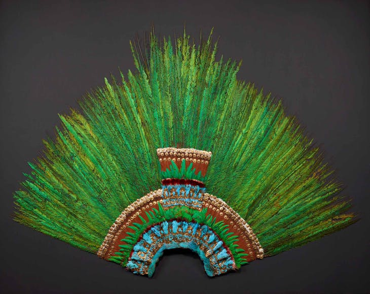 Quetzal-feather headdress (c. 1520), Aztec, Mexico.