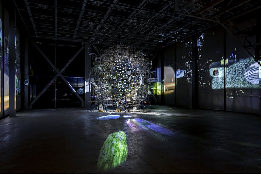 Installation view of 'Night into Day' at the Fondation Cartier, Paris, in October 2020.