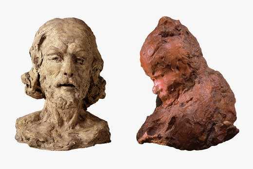 Left: Head of Saint John the Baptist (1877/78), Auguste Rodin. Staatliche Kunsthalle Karlsruhe. Right: La Portinaia (1883/84), Medardo Rosso. Collection PCC, Lugano