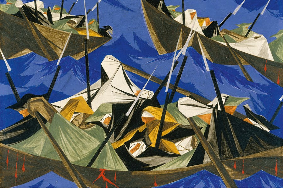 Panel 10 (detail) (1954) from 'Struggle: From the History of the American People (1954–56), Jacob Lawrence. Metropolitan Museum of Art. © The Jacob and Gwendolyn Knight Lawrence Foundation, Seattle/Artists Rights Society (ARS), New York