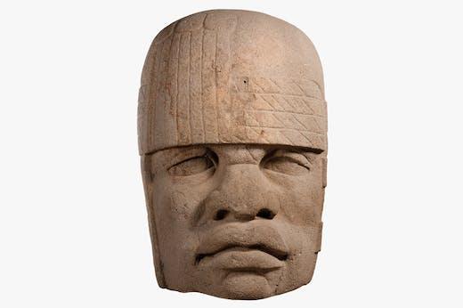 Colossal head 4 (1200–900 BC), Olmec, Mexico. Museo de Antropología de Xalapa.