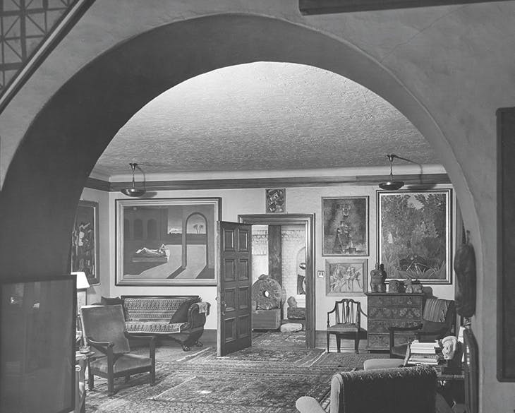 Photograph of the south-west corner of the living room at 7065 Hillside Avenue by Fred R. Dapprich in c. 1944.