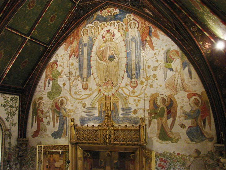 The east end of the chapel at Madresfield Court, Worcestershire, frescoed by Henry Payne and assistants from 1902–23