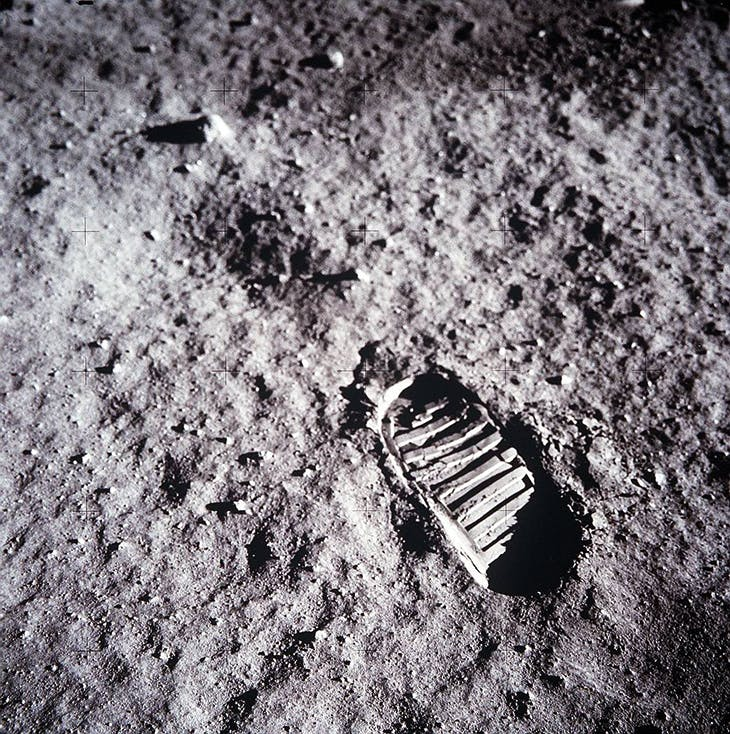Buzz Aldrin's boot print in the lunar soil, during Apollo 11's landing on the moon, 20 June 1969.