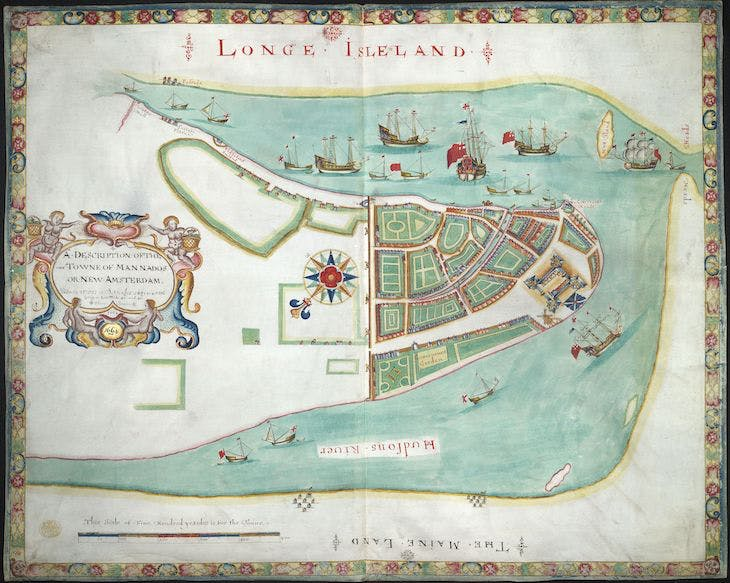 A description of the town of Mannados or New Amsterdam as it was in September 1661 (known as the 'Duke's Map of New York'; 1644), published by William Faden.