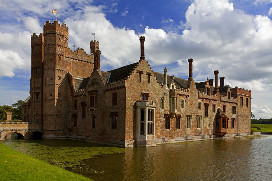 View of the gatehouse and west front of Oxburgh Hall, Norfolk.