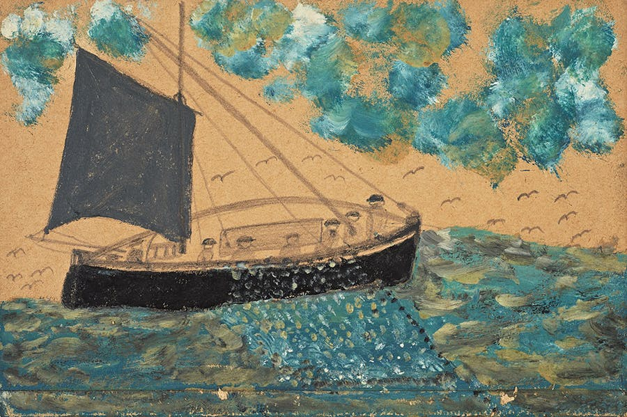 Ship with seven men, net and gull (n.d.), Alfred Wallis.