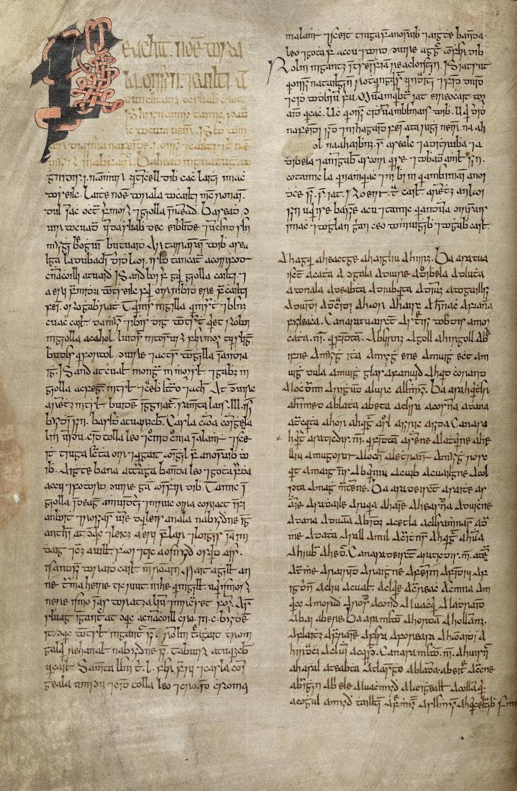 Page from Agallamh Bheag in the Book of Lismore (late 15th century), Kilbrittain.
