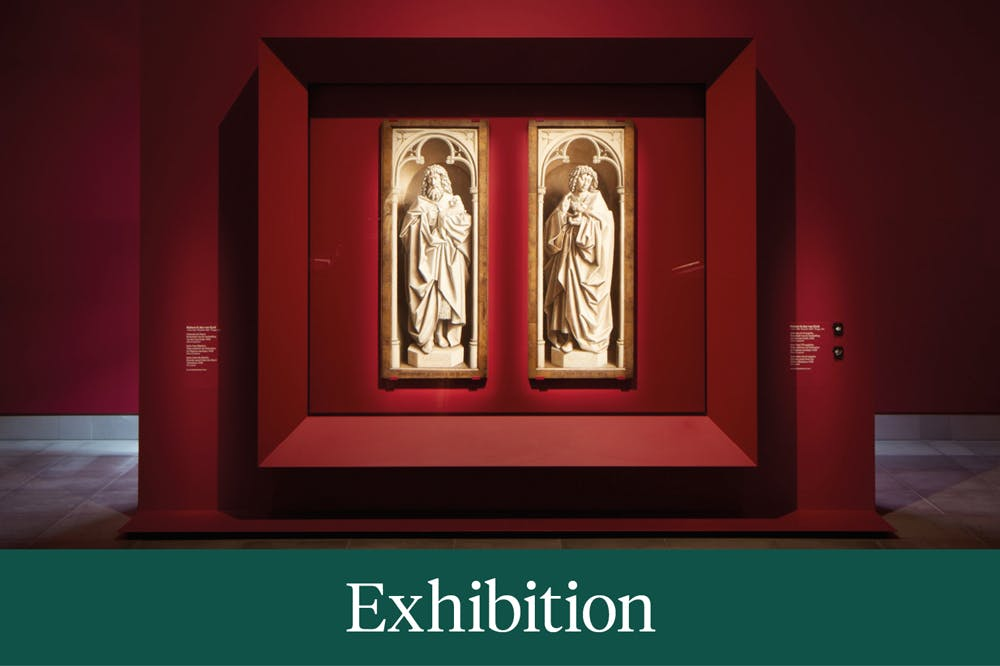 Installation view showing St John the Baptist and the Evangelist from the Ghent Altarpiece (1432) by Jan and Hubert van Eyck, MSK Ghent, 2020.