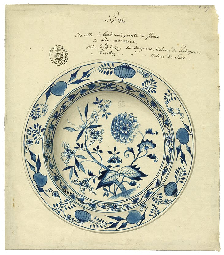 A late 18th-century drawing of the 'Blue Onion' pattern, first designed at Meissen in 1738. Staatliche Porzellan-Manufaktur, Meissen.